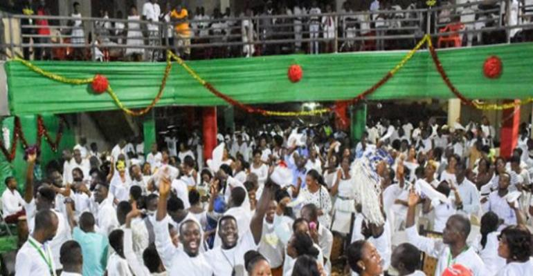 Ghanaians at a watch night service