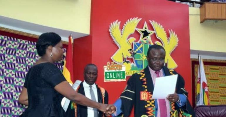 Lydia Alhassan being sworn in as Ayawaso West Wuogon MP