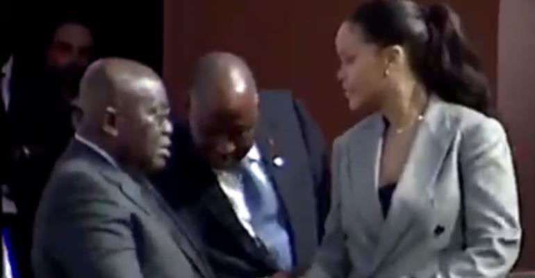 Rihanna shaking hands with President Nana Akufo-Addo
