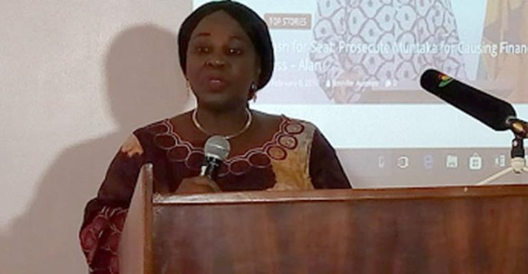 Cecilia Dapaah addressing the stakeholders