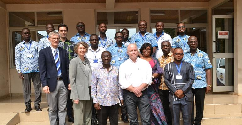 Mr Kwame Owusu (Director General, GMA) flanked by the Danish Ambassador to Ghana, ToveDegnbol (1st left) and Peter Eilschow Olesen (2nd left) Deputy Head of Mission, Head of Cooperation and Dr. Christopher Saarnak (Right) Efficien Sea 2 Project Manager Senior Advisor, Danish Maritime Authority.