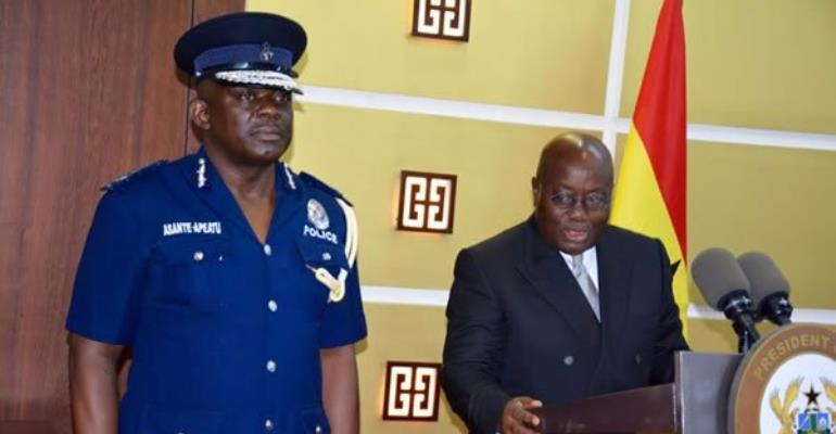 File photo: Inspector General of Police (IGP), David Asante-Apeatu being sworn into office by President Nana Akufo-Addo.