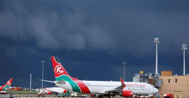 File photo: Kenya Airways Boeing 737-800 planes are seen parked at the Jomo Kenyatta International airport near Kenya's capital Nairo