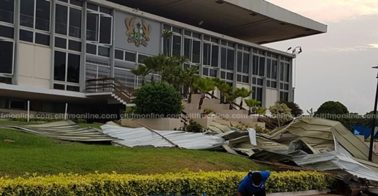 Parliament's roof ripped off: The morning after the storm [Photos]