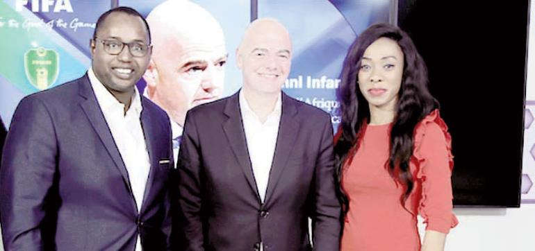 Juliet Bawuah and Gianni Infantino