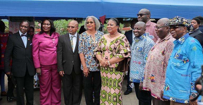 On February 20, 2018, the First Lady of Ghana, Mrs. Rebecca Akufo–Addo (fourth from right); representatives from the Ministry of Health; representatives from Rotary International; and USAID/Ghana Mission Director, Sharon L. Cromer (fourth from left), participated in the national launch of Rotary Family Health Days, hosted by Rotary International, USAID, and the Ghana Health Service to provide targeted outreach activities, including HIV counseling and testing; family planning education;  tubercul