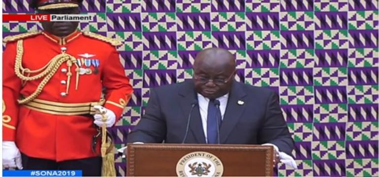 President Akufo-Addo addressing the Parliament of Ghana at the 2019 State of the Nation's Address