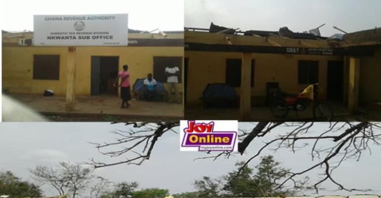 GRA, GNAT Offices At Nkwanta South Destroyed By Rainstorm