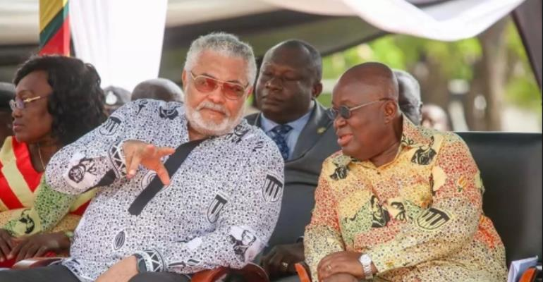 Former President Rawlings in a chart with President Nana Addo