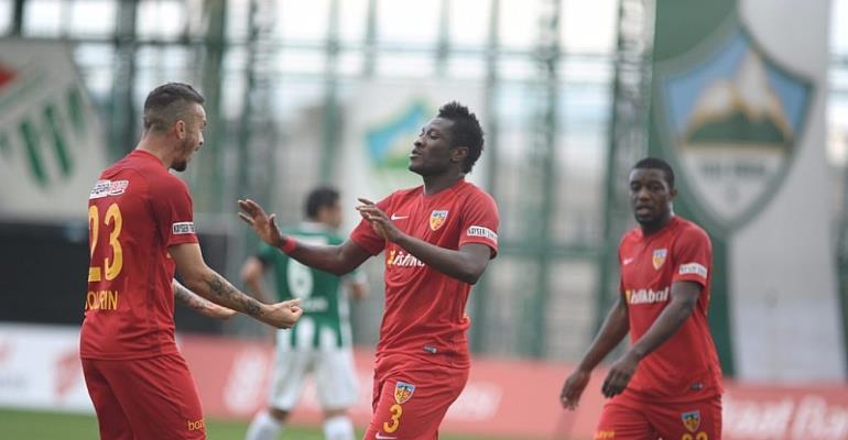 Ghana Skipper Asamoah Gyan Makes Injury Return In Kayserispor's 3-2 Win Over Kisampasa