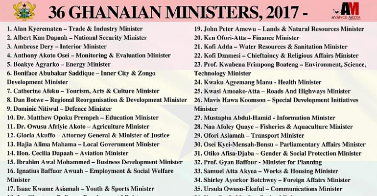 List of Ministers Appointed by Nana Addo