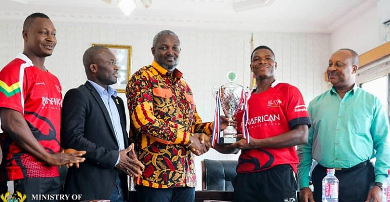 Ghana Rugby Team, The Eagles Receive $10,000 For Africa Silver Cup Triumph From MoYS