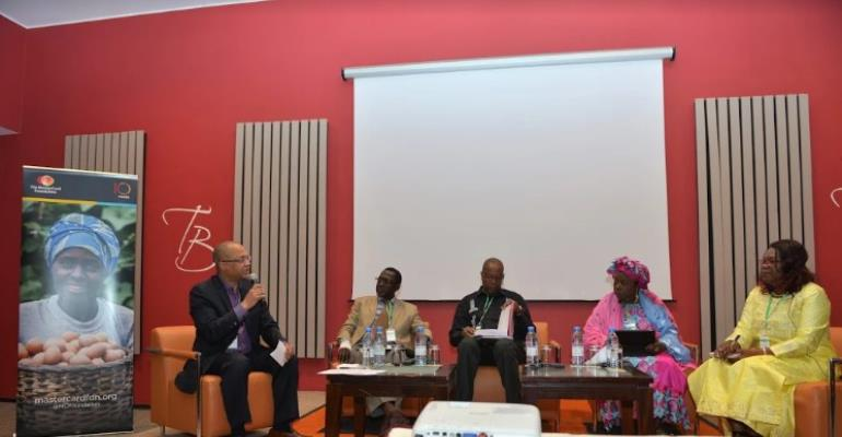 Sambou Coly, Program Manager, Financial Inclusion at The MasterCard Foundation addressing the panel