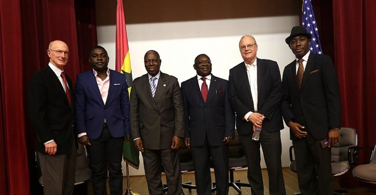 His Excellency Dr. Barfour Adjei-Barwuah - Ghana's Ambassador to the United States is (3rd left), Thomas Susman - Director of Governmental Affairs Office at the American Bar Association (left), Kevin Taylor - CEO of Loud Silence Media (2nd left), George Kwasi Bright - Editor and Publisher of the Afrikan Post newspaper (4th left), Jeffrey Bartholet - a Senior Editor with the Pulitzer Center on Crisis Reporting (2nd right), and extreme right is Oral Ofori - Founder of TheAfricanDream.com