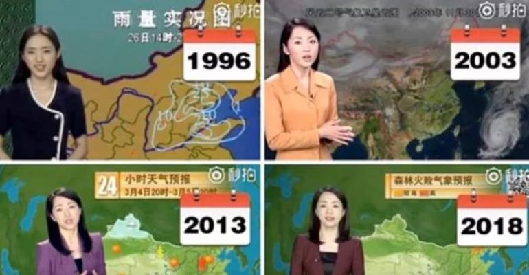 Chinese weather girl doesn't seem to have aged a day in 22 years