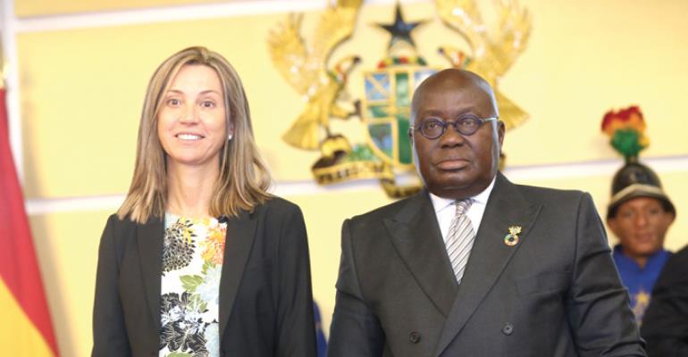 President Akufo-Addo with Madam Alicia Rico Perez Del Pulgar (left), Spanish Ambassador to Ghana, at the Flagstaff House