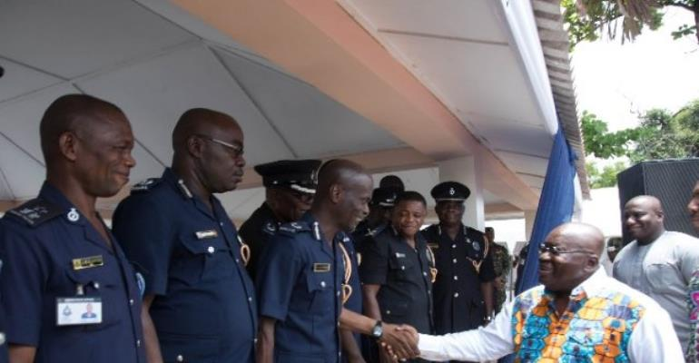 President Akufo-Addo exchanging pleasantries with some officers of the Ghana Police Service