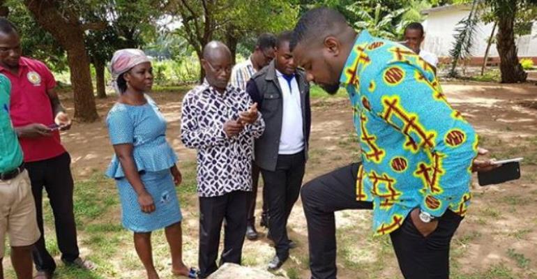 Actor, John Dumelo Donates New Water Pump Machine to School in Ghana
