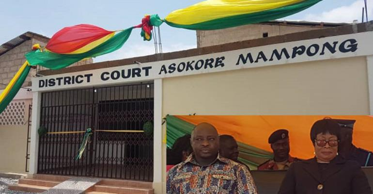 The court building. INSET: Sophia Akufo and Alidu Seidu
