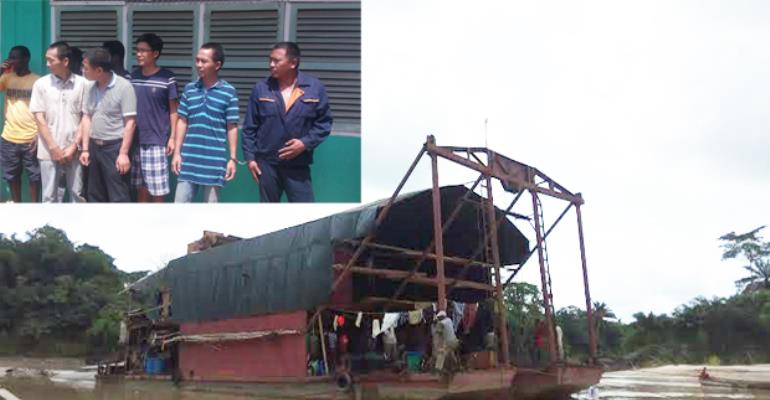 The structure which housed the Chinese on the river. INSET: The suspects