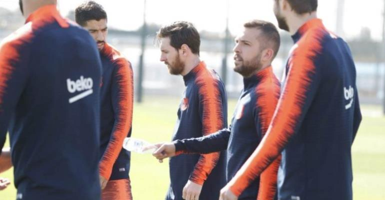 Lionel Messi Back In Barcelona Training