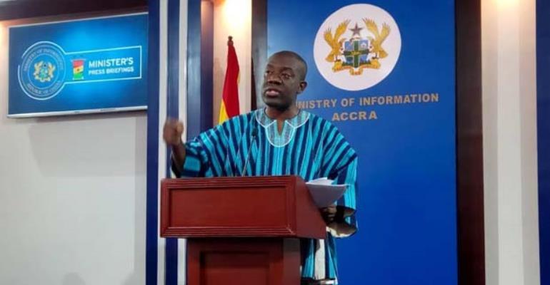 Information Minister, Kojo Oppong Nkrumah addressing the media