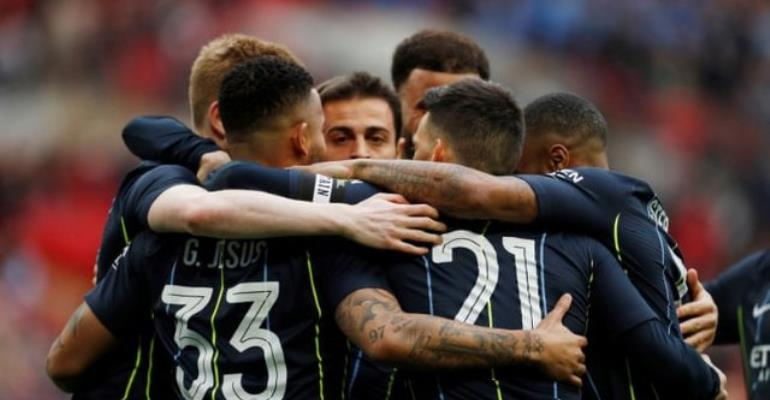 Manchester City's Gabriel Jesus celebrates scoring their first goal. Photograph: John Sibley/Action Images via Reuters