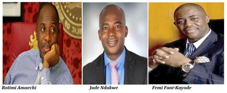 Rotimi Amaechi, Jude Ndukwe and Femi Fani-Kayode