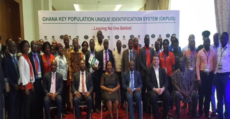 Alexander K K Abban, Kyeremeh Atuahene, Mark Addo and other chief executives of development partners in a group photograph at the launch of GKPUIS