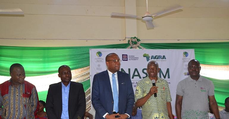 Prof. Emmanuel Bole, MCE Bolga East Assembly addressing the gathering, to his right is Prof Albert Luguterah and on his left is GSA, Director-General, Prof Alex Dodoo