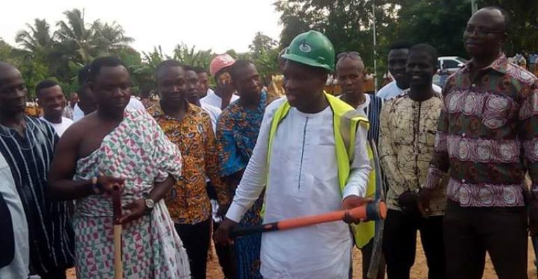 Ellembelle DCE cuts sod for construction of 12-unit classroom block for Nkroful Agric SHS