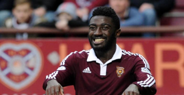 Ghanaian midfielder Prince Buaben major doubt for Hearts' clash against Partick Thistle with a groin injury