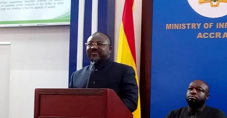 A.B. Adjei addressing the press