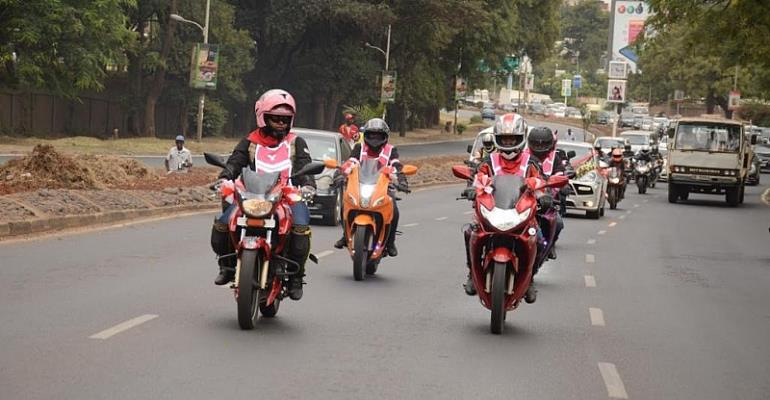 East African women bikers take their safety message on the road