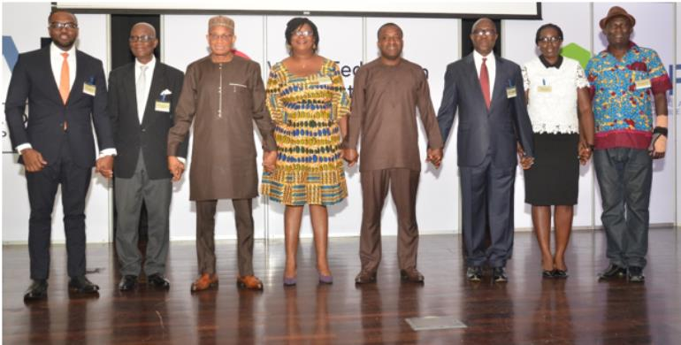 Representatives of the AAMI, GIBA and AAG with the Hon. Dr. Mustapha Hamid (Minister for Information), Mr. Joseph Adusei, (Head of Regenerative Health and Nutrition Program), Ms. Marie Lovelace-Johnson (Head of Enforcement, FDA), Hon. Dr. Kwabena Twum-Nuamah (Chairman, Parliamentary Select Committee on Health).