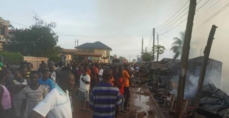 Abofu-Accra: Late Afternoon Fire Razed Shops And Home