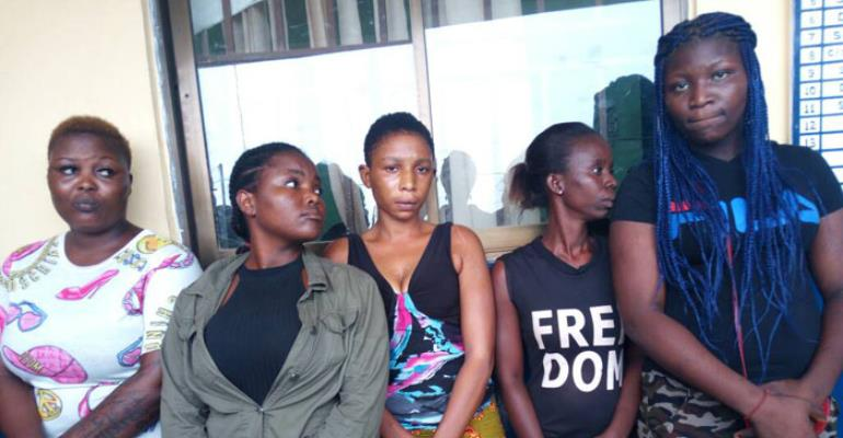 Some of the suspected prostitutes in police custody