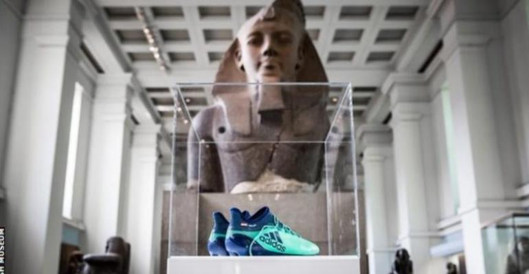 Salah's boots on display at the British Museum