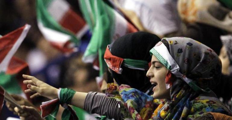 Iranian women sneak into men-only soccer match with fake beards