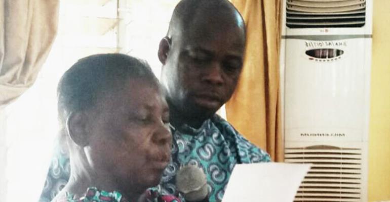 Agnes Atayila taking her oath