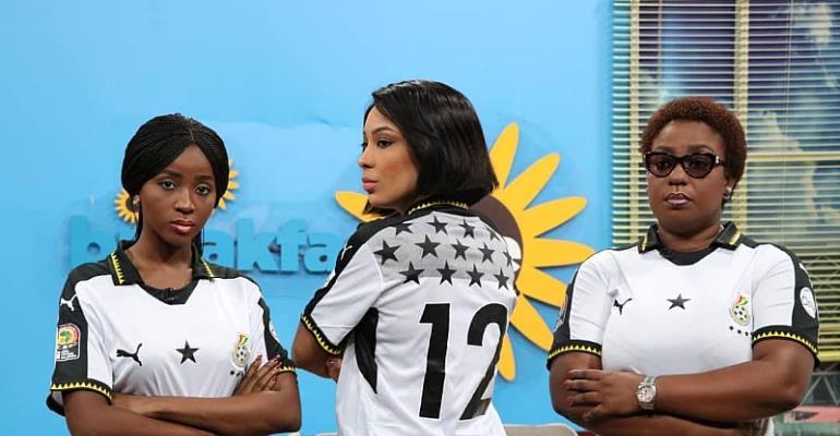 "Social Media Goes ""Gaga"" Over TV Africa Morning Show Hosts Snap Of Number 12 Black Stars Jersey"