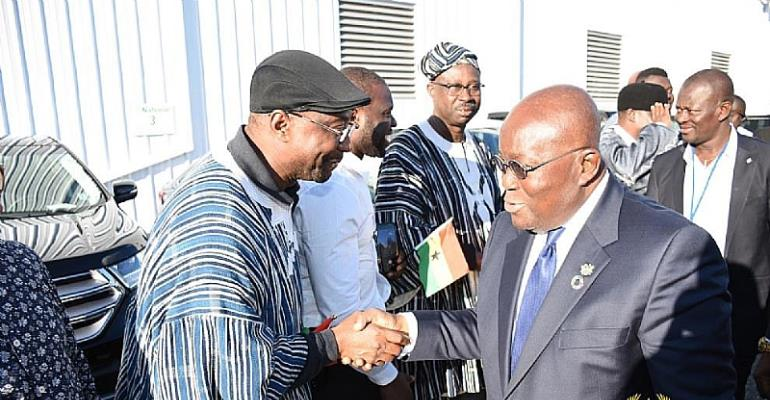Akufo-Addo being welcomed at the airport