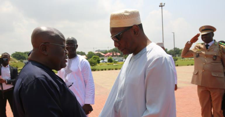 President Akufo-Addo welcoming President Alpha Conde of Guinea to the Jubilee House in Accra