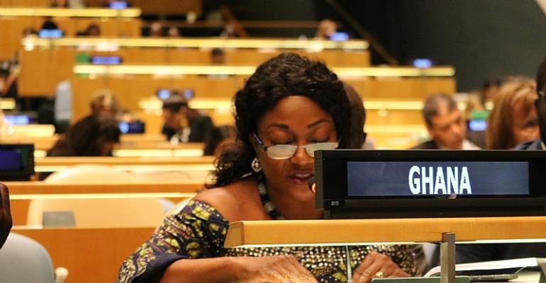 Otiko Djaba, Gender, Children and Social Protection Minister reading her statement