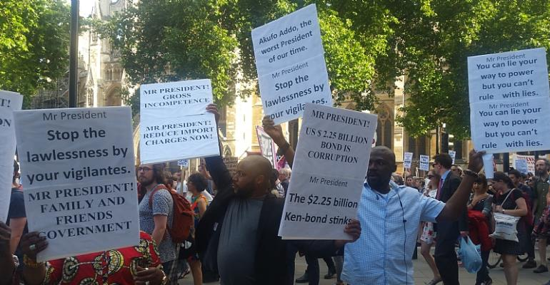 Ghanaian Residents In The UK Demonstrates Against Akufo-Addo's Government In London
