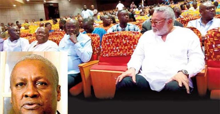 Jerry John Rawlings with other dignitaries at theNational Theater on Thursday. INSET: John Mahama