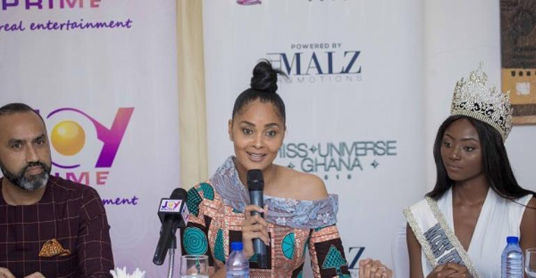 Menaye Donkor speaking at miss Universe Ghana 2018 launch