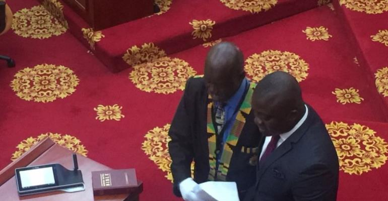 Hon. Bryan Acheampong being sworn in in Parliament