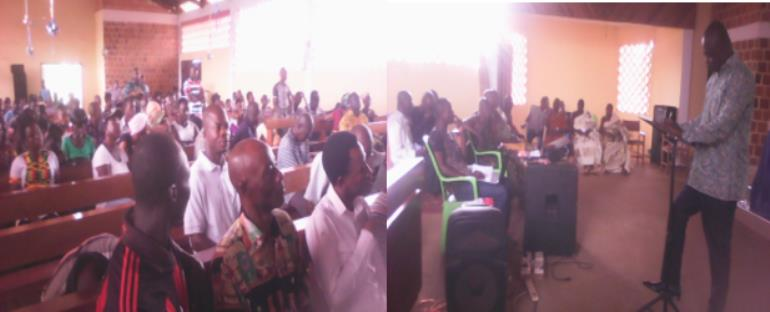 Hon Emmanuel Kofi Agyeman Up Standing Making A Submission At A Citizens' Forum In Wamanfo