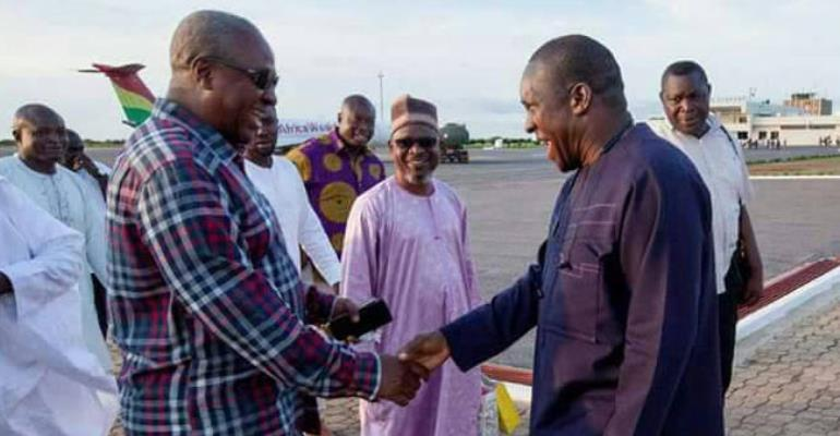 Alban Bagbin wishing John Mahama good luck when they bumped into each other at the Tamale Airport before the walk on Saturday
